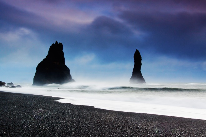 Reynisfjar, black sandy beach in the village of Vik, Iceland