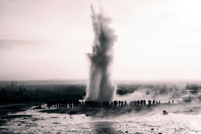 Spouting Geyser at Huakadalur Valley, Iceland, part of the golden circle of Iceland